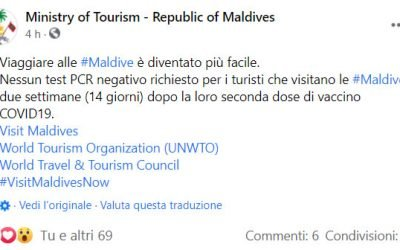 Bellissma notizia! Nessun test negativo richiesto alle Maldive per i vaccinati