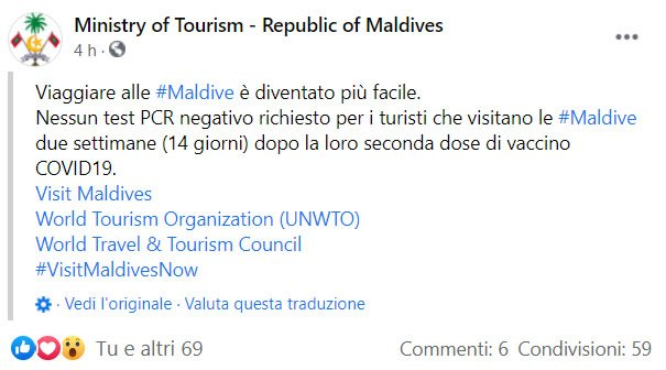 Nessun Test Negativo richiesto alle Maldive per i vaccinati